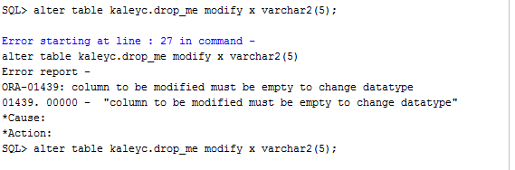 ora-01439 column to be modified must be empty to change datatype