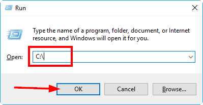 "open the run dialog, navigate to the C: drive and click ""OK"""